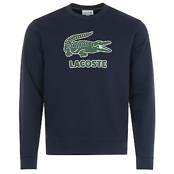 Lacoste Big Crocodile Logo Crew Neck Sweatshirt - Navy