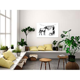 Painting - Inspired Banksy: Washing Zebra (1 Part) Wide90x60