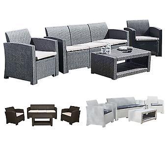 Sofá Rattan de 5 plazas, mesa y silla salón set muebles de patio jardín al aire libre