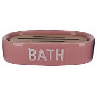 soap holder 12.5 x 9.5 cm ceramic pink