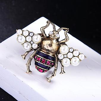 Imitation Pearls Glass Bee Insect Broche, Bijoux déclaration