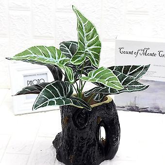 Planta artificial 9 cabeza común calla hoja plástico plantas verdes falsas 5pcs