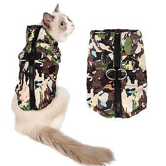 Koiran kissa vaatteet joulu naamiointi vedenpitävä tuulenpitävä puuvilla-pehmustettu takki