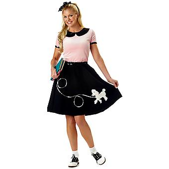 50s Hop Poodle Pink Rock N Roll Grease Bopper Retro Womens Costume