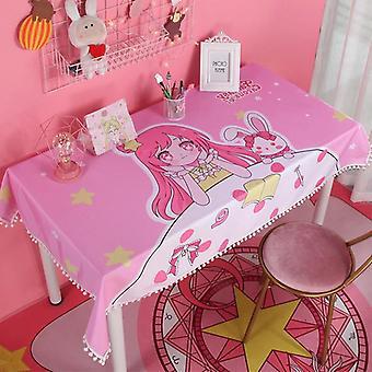80cm بحار القمر الوردي لينة خلع الملابس الجدول القماش تغطية فتاة عيد ميلاد هدية | مفرش المائدة (وردي)