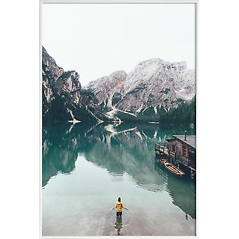 Impression JUNIQE - Hidden Lake par Ueli Frischknecht - Oceans, Seas and Lakes Poster in Grey and Turquoise