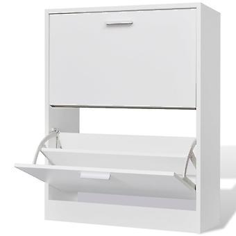 Gabinete de zapatos con 2 compartimentos de madera blanca