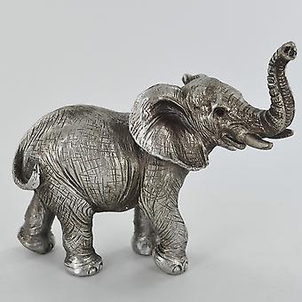 antikk sølv stående elefant trunk opp ornament