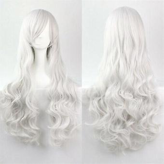 (Blanco) Mujer Pelucas rizadas largas Cosplay Disfraz de Halloween Anime Pelos Ondulados Peluca completa Cabello