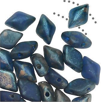 Czech Glass GemDuo, 2-Hole Diamond Shaped Beads 8x5mm, 8 Grams, Cobalt Matte Rembrandt