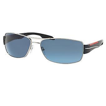 Prada Sport Ps 53ns 1bc5i1 65 Srebrne i niebieskie szare męskie okulary przeciwsłoneczne