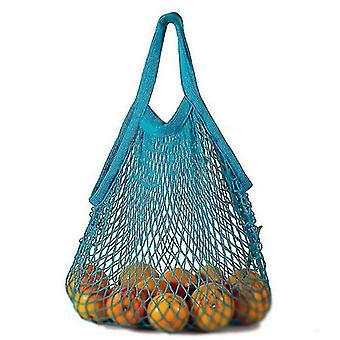 Krátký výběr Čistá bavlněná síťová taška Přenosná bavlněná taška Bavlna Supermarket Zelenina (Modrá)