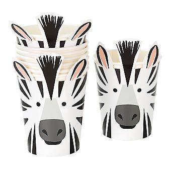 Safari Zebra Papier Party Papier Tassen x 8
