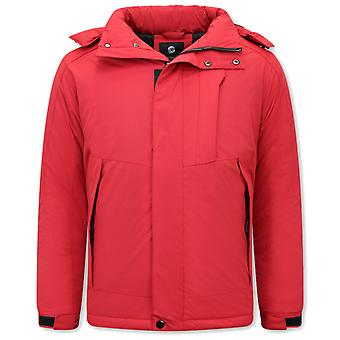 Sporty Windproof Winter Coat - Red