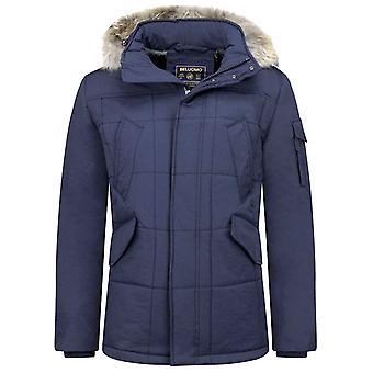 Long Dark Blue Winter Coat - Parka With Fur Collar