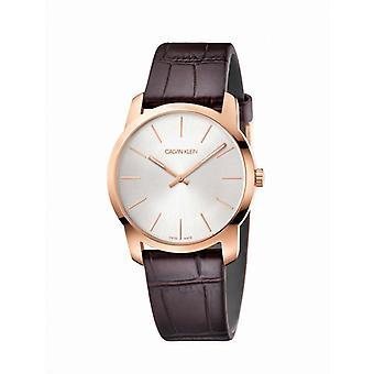 Calvin Klein Uhren CITY PO MZ PVD5N BRW LEA SIL DIAL - K2G226G6 Lederarmband