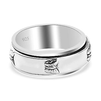 TJC Wedding Band Ring for Women in Platinum Plated Silver(V)