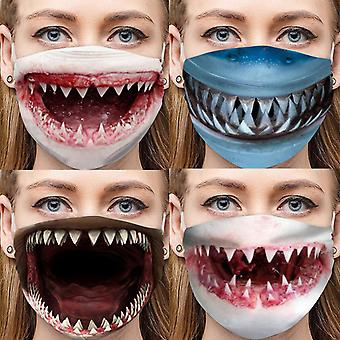 Allthemen Anti-fog Pm2.5 Activated Carbon Adjust Cotton Protective Washable Shark Mouth Funny Mask