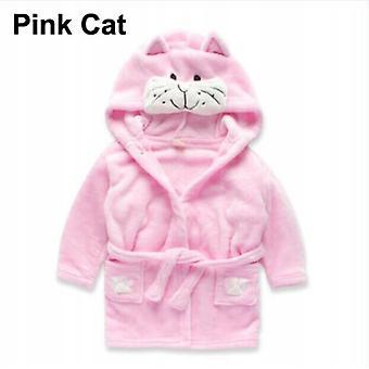 Pyjama Trainingsanzug Bademantel für Kinder Rosa Katze
