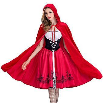 Liten röd ridhuva Kvinnor Cosplay Kostym Cape Cloak Fancy Klänning