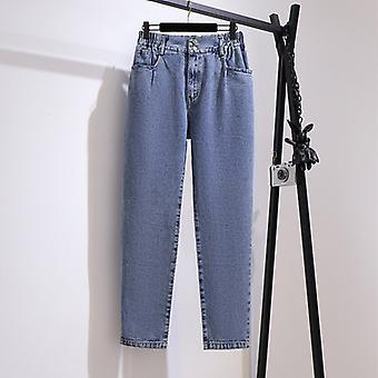 Plus Size Damen Herbst Loose High Waist Jeans Bf Straight Wide Leg Hose