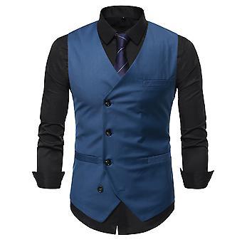 סילקטאה גברים בצבע מוצק יחיד חזה ואפוד V צוואר עסקים מזדמנים אפוד חליפה