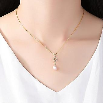 925 Silver Chain AAA Zircon Pearl Necklace Pendant Natural Party Gift|Necklaces