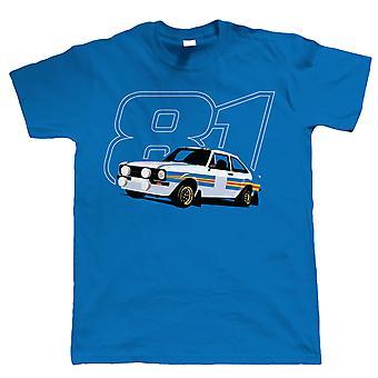 Mk2 Escort RS1800 81, Mens Rally Car T Shirt, Presente para o aniversário do pai