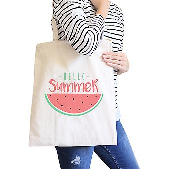 Summer Watermelon Natural Canvas Tote Bag Cute Summer Gift Idea