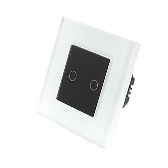 Ich LumoS weißes Glas Rahmen 2 Gang 1 Weg Touch Dimmer LED Licht schwarz Insert wechseln