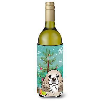 Christmas Tree and Cocker Spaniel Wine Bottle Beverage Insulator Hugger