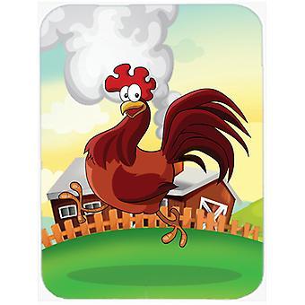 Pollo gallo sul tagliere esecuzione vetro grande