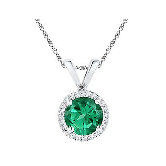 Lab Created Green Emerald 3/4 Carat Solitaire Pendant Necklace in 10K White Gold with Damonds 1/10 Carat (ctw)