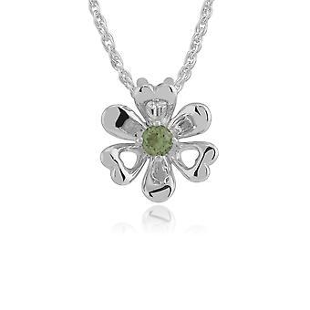 Floral redondo peridoto flor de piedra única colgante collar en 925 plata de ley 270P021901925