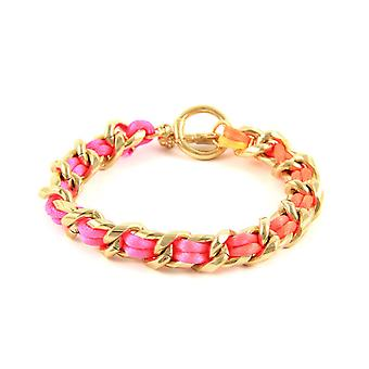 Ettika - Pink Neon bracelet in Yellow Gold and Satin Fabric 3114