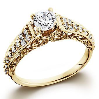 5 / 8ct Vintage Diamond Engagement Ring 14K or jaune