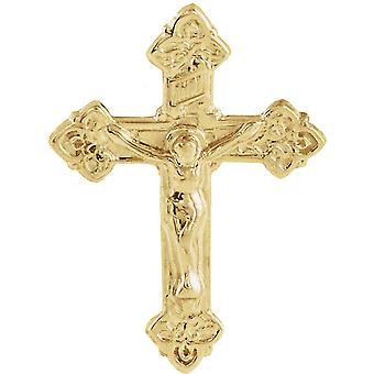 14k Yellow Gold Crucifix Lapel Pin 17.5x13mm Jewelry Gifts for Men - .9 Grams
