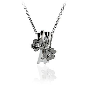 Orphelia plata 925 cadena con colgante de flores y negro circonio Rhodiumplated ZH-6039/2