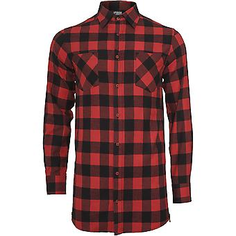 Urban classics men's side zip long checked flannel shirt
