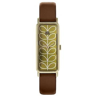 Orla Kiely tige modèle Interchangeable brun & rose mince en cuir sangle OK2212 Watch