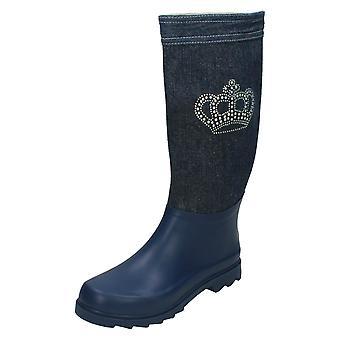 Ladies Spot On Denim Diamante Design Wellington Boots