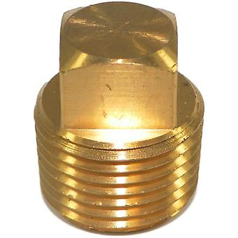 "Big A Service Line 3-22180 Brass, Male Thread Square Head Plug NPT 1/2"" Solid"