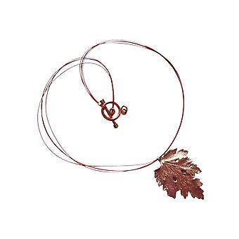 Gemshine kvinnors halsband hänge Rose förgyllda blad krysantemum natur