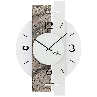 AMS 9558 wall clock quartz analog silver natural stone look with aluminium and glass