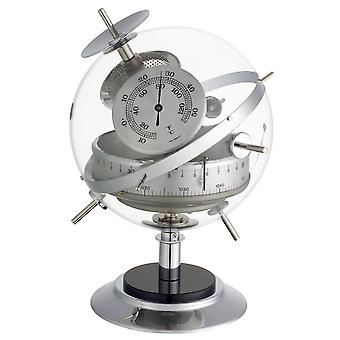 Sputnik indoor of chrome with acrylic weather station barometer