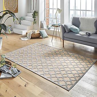 Design viscose rug Bryon in relief appearance cream grey