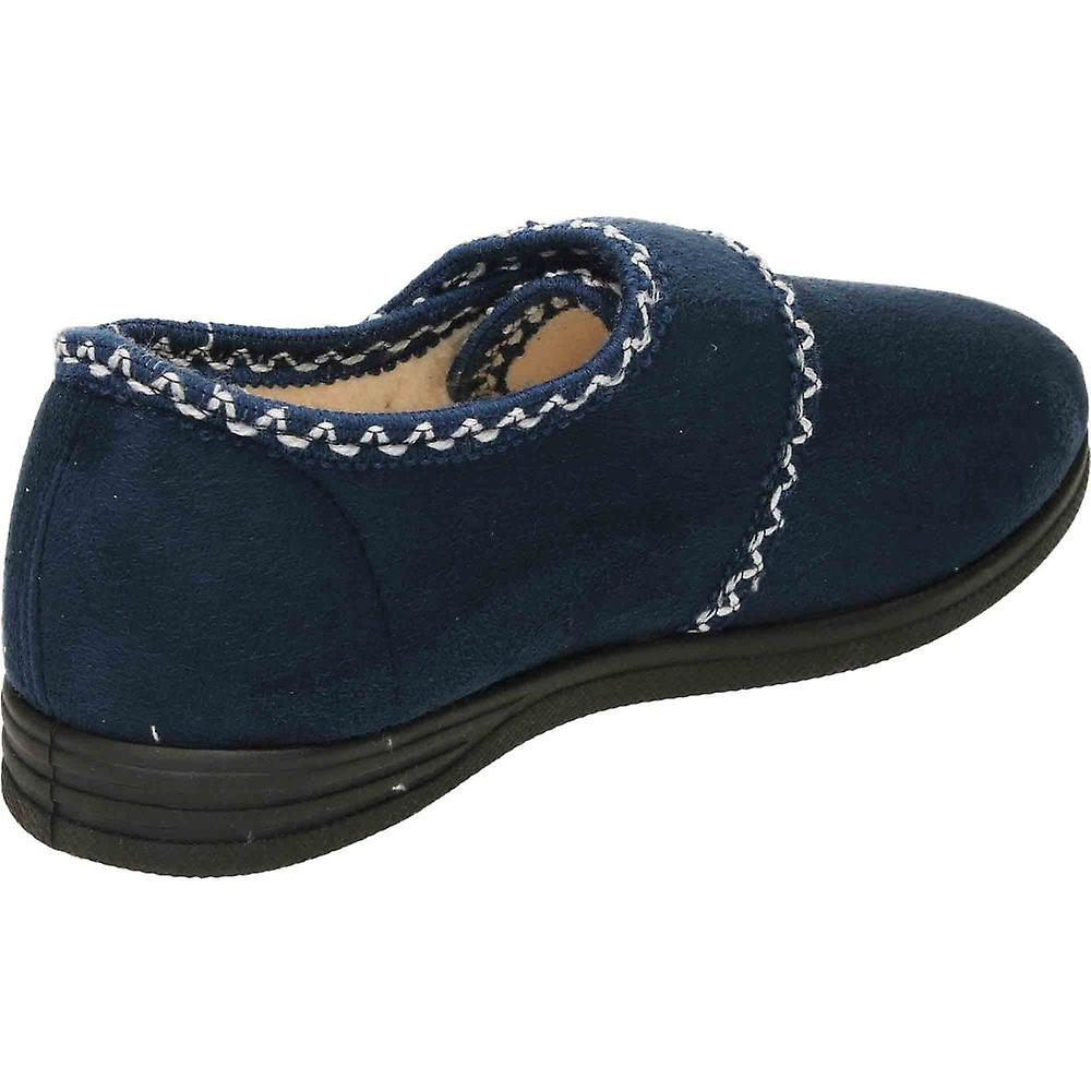 Cushion-Walk Navy Rip Tape Warm Slipper House Shoe