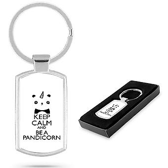 Unicorns KEEP CALM Pandicorn Custom Printed Metal Keyring / Gift - U03 [ 2 Packs ]