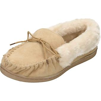 Cushion-Walk Beige Warm Suede Leather Moccasin Slippers