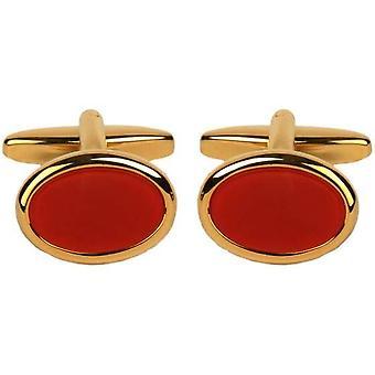 Дэвид ван Хаген позолоченный сердолик запонки овал - красный/золото